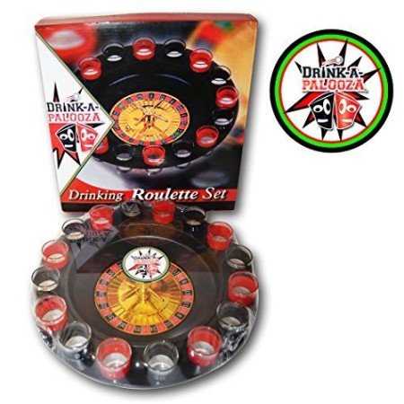 DRINK-A-PALOOZA Shot Roulette Gambling Drinking Games - Gift for College Guys Drinking Board Games for Parties